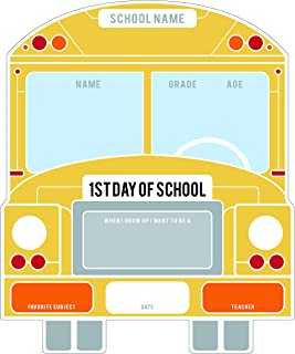 Canopy Street School Bus First & Last Day of School Reusable Dry Erase Chalkboard Style Sign Photo Prop Set - Easy Clean Back to School and Last Day Sign - Unique School Bus Design 10