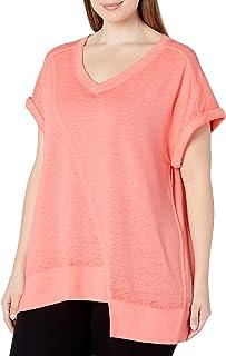 Calvin Klein Performance Women's Plus SizeDeep V Neck Short Sleeve Asymmetric Hem Pullover Size