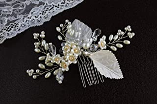 Lily of the Valley Pearl Crystal Bridal Hair Comb