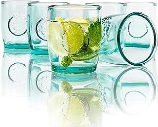 BigDean Trinkgläser Tumbler 400ml 6er Set aus 100% Recyclingglas Gläser für Longdrinks Cocktails Gin Whisky Wasser & Eiskaffee umweltbewusst spülmaschinenfest langlebig