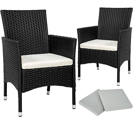 TecTake 2x Chaise de jardin en poly rotin résine tressé + coussin + deux set de housses + vis en acier inoxydable - diverses couleurs au choix - (Noir   No. 402122)
