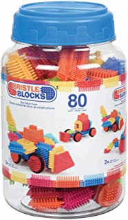 Bristle Blocks by Battat – The Official Bristle Blocks – 80Piece Big Value In A Storage Bin – STEM Toys 3D Sensory Toy Blo...