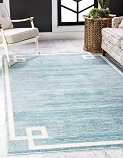 Unique Loom Uptown Collection by Jill Zarin Collection Greek Key Textured Modern Turquoise Area Rug (5' 0 x 8' 0)