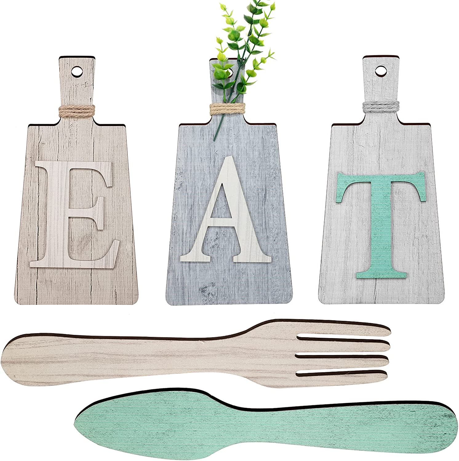Cutting Board Eat Sign Set Hanging Art Kitchen Eat Sign Fork and Spoon Wall Decor Rustic Primitive Country Farmhouse Kitchen Decor for Kitchen and Home Decoration (Beige, Dark Gray, Gray White)