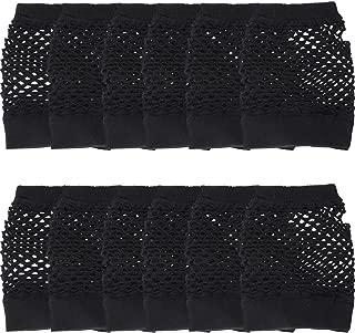 12 Paar Nylon Fingerlose Fischnetz Handschuhe Neon Mesh Handschuhe 80er Jahre Party Handschuhe für Party Dressup Favors (Schwarz)