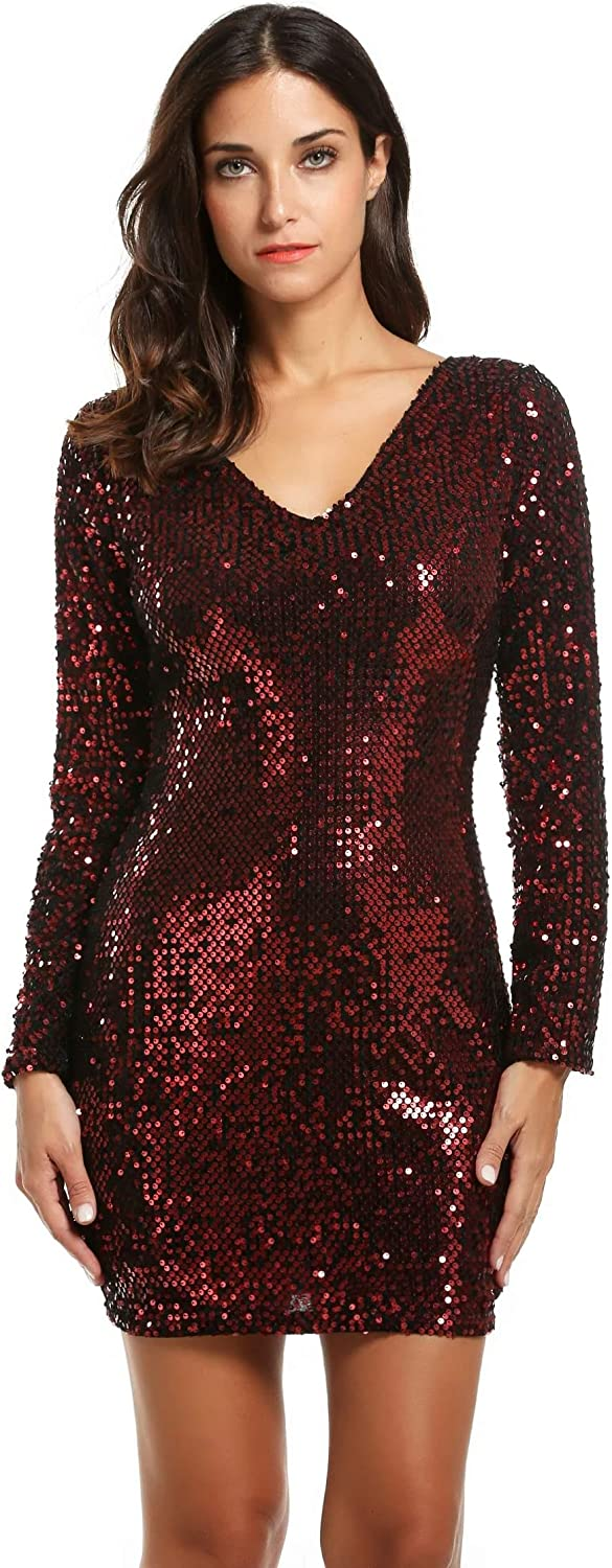 Etuoji Women's Sexy Sequin VNeck Long Sleeve Bodycon Cocktail Party Club Evening Mini Dress