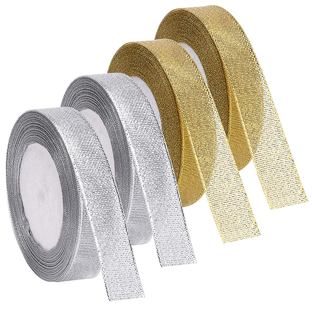 Livder 4 Rolls 4/5 Inch Width Metallic Glitter Ribbons for Holiday Wedding Birthday Party Decoration Gift Wrapping (Golden, Silvery)