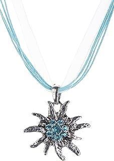 Schöneberger Trachten Couture Trachtenkette Edelweiss Trachtenschmuck - Trachten Kette mit feinem Strass in div. Farben - Halskette für Dirndl und Lederhosen