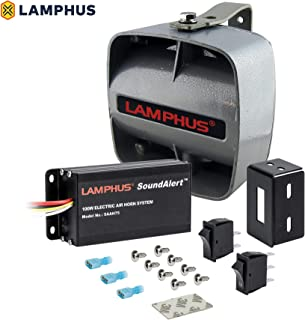 LAMPHUS SoundAlert SAAH75 SASP02 100W Electronic Air Horn Kit for Trucks Cars (120-130dB Slim Speaker)