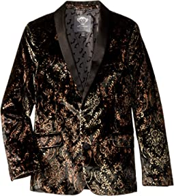 Super Soft Paisley Print Velvet Shawl Collar Blazer (Toddler/Little Kids/Big Kids)