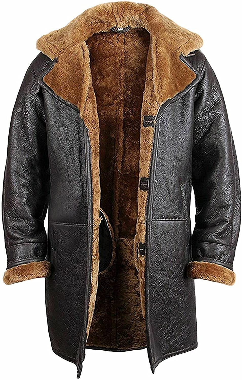 B3 Bomber Shearling Real Leather Trench Coat Jacket For Men Winter Fashion Clothing Raf Aviation WW2