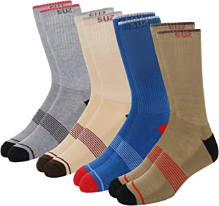 SUZ Men's Crew Socks With Ribs And Comfort Welt (Pack of 4)