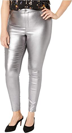 Plus Size Iridescent Metallic Denim Leggings