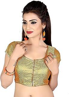 Ocean Fashion Women's Round Neck Readymade Saree's Blouses (Gold; Medium)