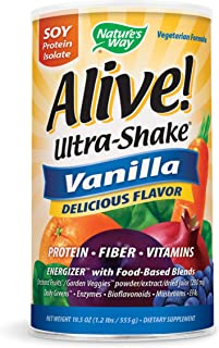 Nature's Way Alive! Ultra Shake Energizer, Soy Protein Isolate, Vanilla Flavored, 1.2 Lbs