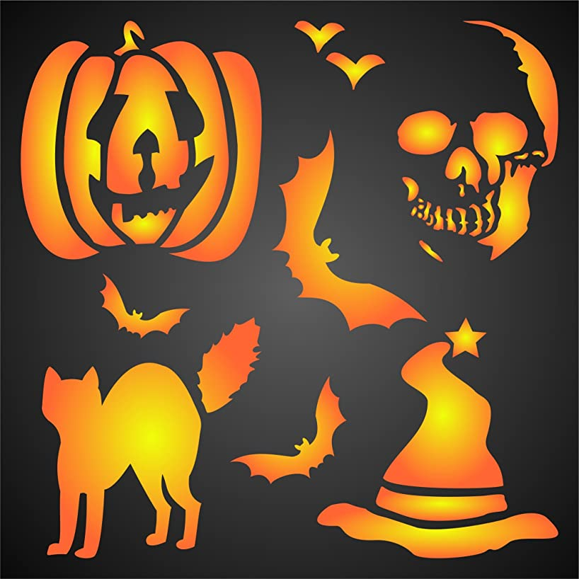 """HALLOWEEN DECOR STENCIL (size 7""""w x 7""""h) Reusable Stencils for Painting - Best Quality Scrapbooking Halloween Ideas - Use on Walls, Floors, Fabrics, Glass, Wood, Posters, and More…"""