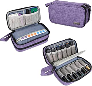 Luxja Essential Oil Carrying Case - Holds 12 Bottles (5ml-15ml, Also Fits for Roller Bottles), Portable Double-Layer Organizer for Essential Oil and Accessories, Purple