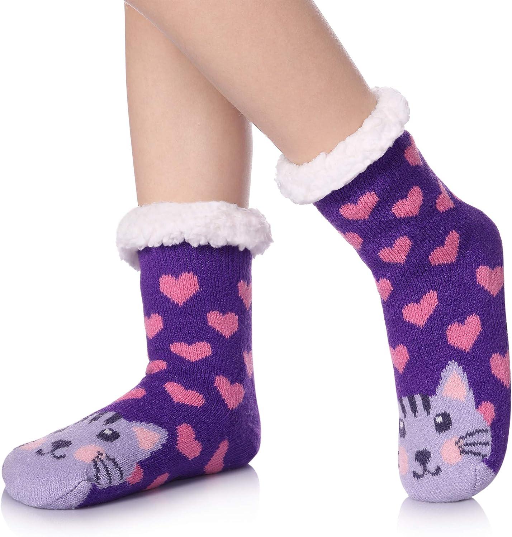 TRUEHAN Kids Girls Boys Slipper Socks Soft Thick Cozy Fuzzy Animal Anti-Slip Winter Thermal Christmas Socks Indoor