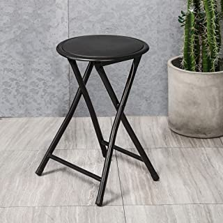 HOMOOI Folding Stools 18.1-Inch,Heavy Duty Collapsible Padded Round Stool for Kitchen,Bedroom,Garden,Dorm,Rec Room or Gameroom,Black