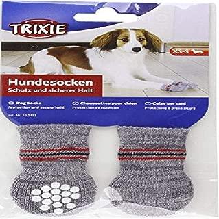 Trixie 19503 Non-Slip Grey Dog Socks, M-L, 1 Pair