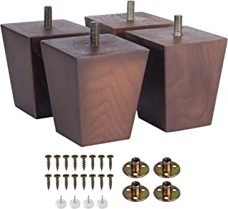 Square Furniture Legs 3 Inch Modern Sofa Couch Bed Coffee Chair Desk Table Feet to Stand in Buffet Or Kitchen Fashionable for Century Set 4 with Metal Screw (3 Inch)