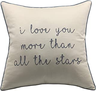YugTex I Love You Than Stars Embroidered Natural Cotton Decorative Throw Pillowcase For Valentine Couple Wedding Anniversary Boyfriend Girlfriend Sofa Porch Bedroom (18