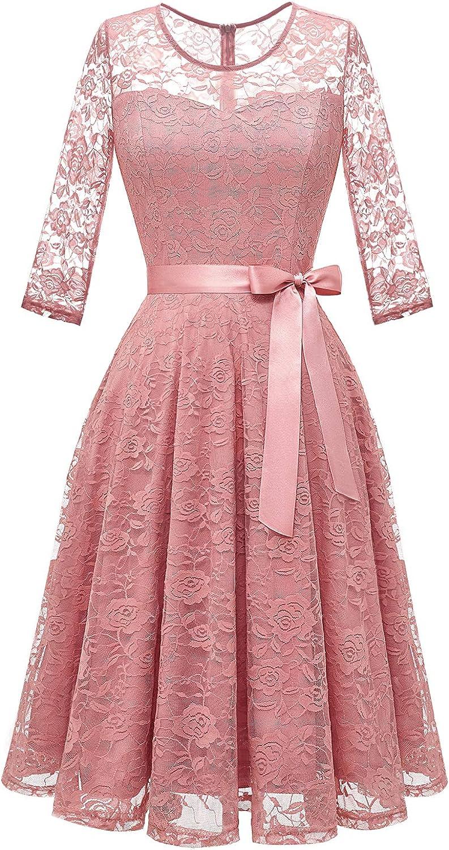 Dressystar Women's Elegant Floral Lace Dress 3/4 Sleeves Bridesmaid Midi Dresses Illusion Neckline
