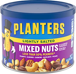 Planters Lightly Salted Mixed Nuts (10.3 oz Canister, Pack of 4) - Variety Mixed Nuts with Less Than 50% Peanuts with Pean...