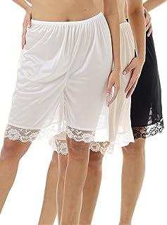 Underworks Pettipants Nylon Culotte Slip Bloomers Split Skirt 9-inch Inseam 3-Pack