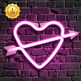 Neon Sign, Neon Heart Sign, Love Heart Wall Decor Light, Cupid's Love Neon, Neon Words for Home Bedroom Room Decor Bar Beer Office for Party Holiday Wedding Decoration Sign (Pink Love&Cupid Design)