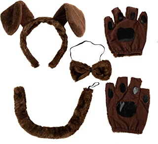 5 Pcs Animal Dog Puppy Costume Accessories Set with Dog Puppy Ears Headband, Bowtie, Gloves and Tail Animal Costume Access...