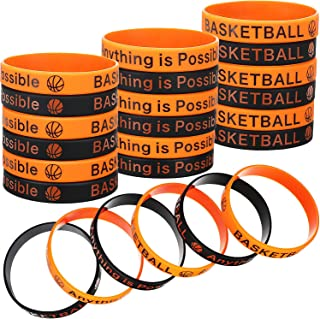 BBTO 48 Pieces Basketball Motivational Bracelets Silicone Rubber Stretchy Wristbands for Sports Gifts Party Favors