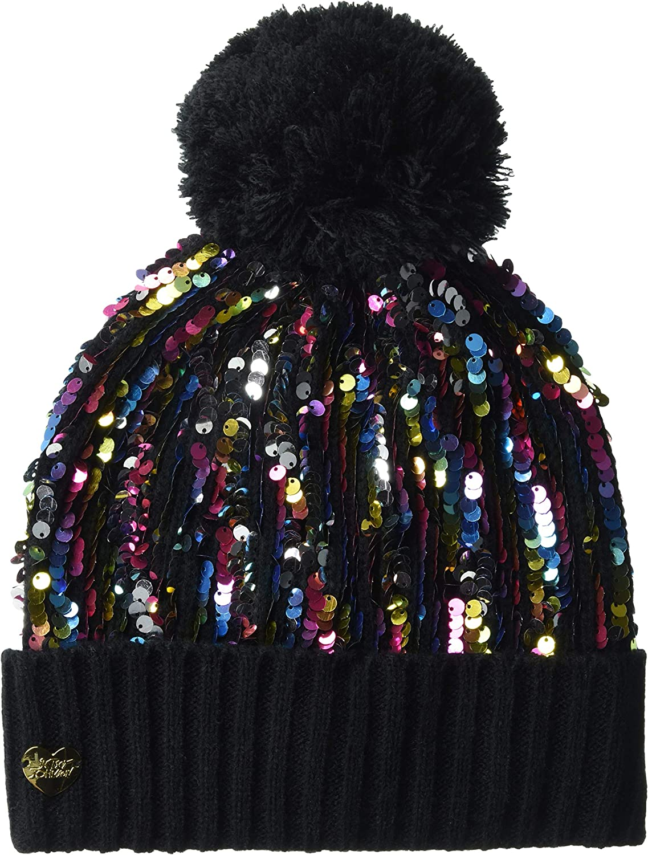 Betsey Johnson Women's High Shine Cuff Pom Hat, Black, One Size