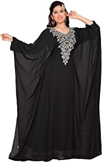 ANIIQ Black Hand Stitched Goergette Embelished Farasha Long Evening Dress with Free Hijab SNM760BL