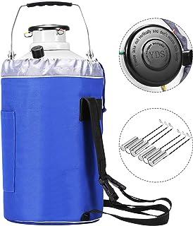 BestEquip 3L Liquid Nitrogen Container Aluminum Alloy Liquid Nitrogen Tank Cryogenic Container with 3 Canisters and Carry Bag