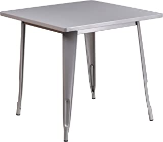 """Flash Furniture Commercial Grade 31.5"""" Square Silver Metal Indoor-Outdoor Table"""