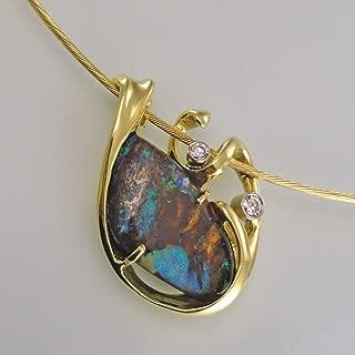 Boulder Opal and Diamond Pendant-Slide