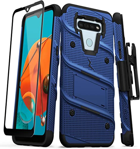 ZIZO Bolt Series for LG K51 / LG Reflect Case with Screen Protector Kickstand Holster Lanyard - Blue & Black