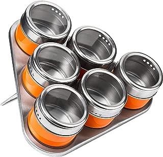 Premier Housewares Magnetic Tray with 6 Spice Jars - Orange