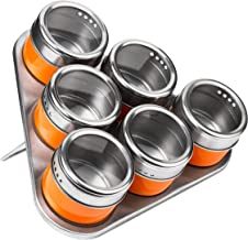 Premier Housewares Magnetic Tray with 6 Spice Jars - Orange