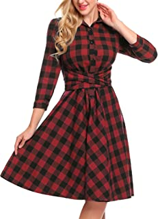 Women's Plaid Dress - Girl's 3/4 Sleeve Button Down Checker Shirt Dress with Belt