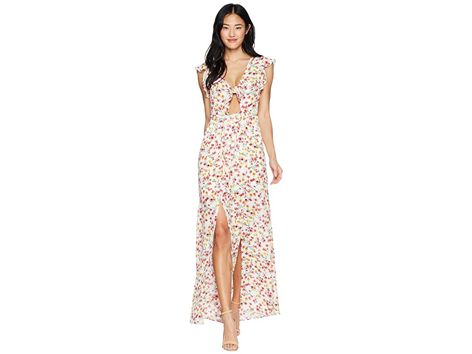 Jack by BB Dakota Brylee Wild Poppies Printed Maxi Dress (Cloud White) Women