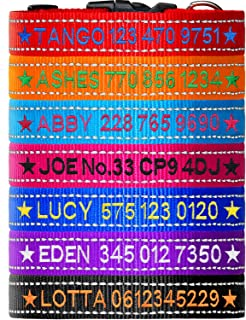 FunTags Personalized Reflective Dog Collar, Custom Dog Collars with Names Embroidered