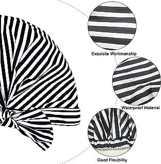 Shower Cap for Women Long Hair Waterproof Reusable Multi-functional Shower Caps (Stripes)