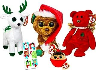 Ty Christmas Beanie Babies Boos Set -- Bundle Includes Christmas Bear Nicolas, Gift The Bear, Peppermint Reindeer, Ornament