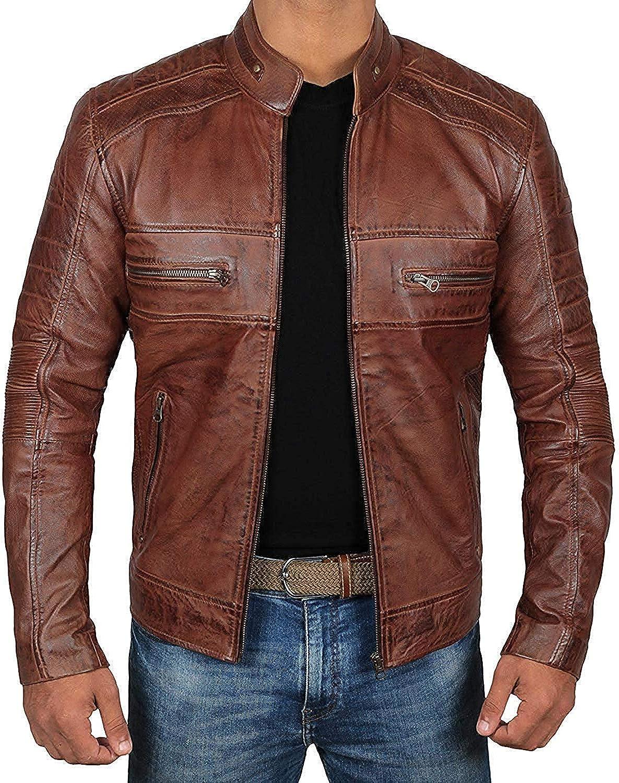 Blingsoul Mens Leather Jacket - Distressed Brown Motorcycle Leather Jacket for Men