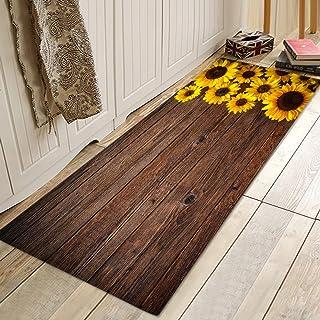 Sunflower Plank Print 17MM Thick Memory Foam Bathroom Carpet and Door Mat Non-Slip Absorbent Flannel Bathroom Carpet Bed R...
