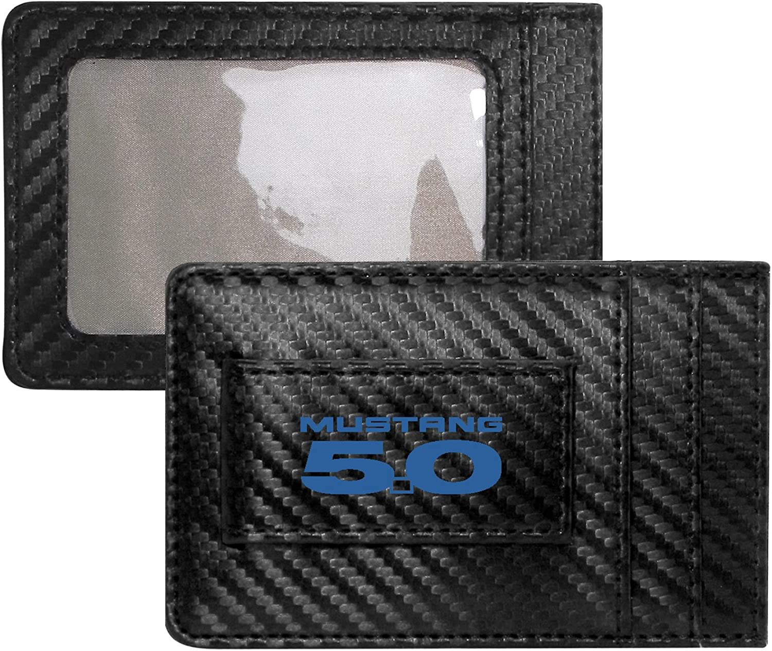 Ford Mustang 5.0 in Blue Black Carbon Fiber Leather Wallet RFID Block Card Case Money Clip
