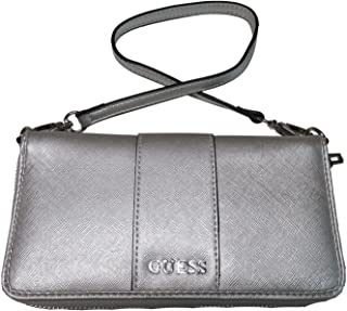 Guess Women's Zip Around Wristlet Wallet Ware Silver