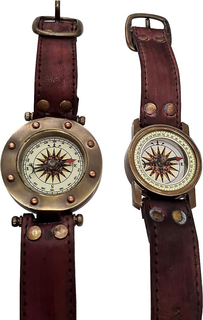 Steampunk Accessories | Goggles, Gears, Glasses, Guns, Mask Antique Style Nautical Steampunk Brass Sundial Compass Wrist Watch Sun Watch - Set of 2  AT vintagedancer.com